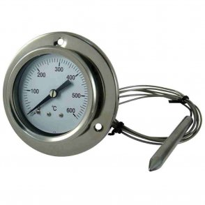 Stainless steel Gas Filled Dial Thermometer with flexible probe 600 °C