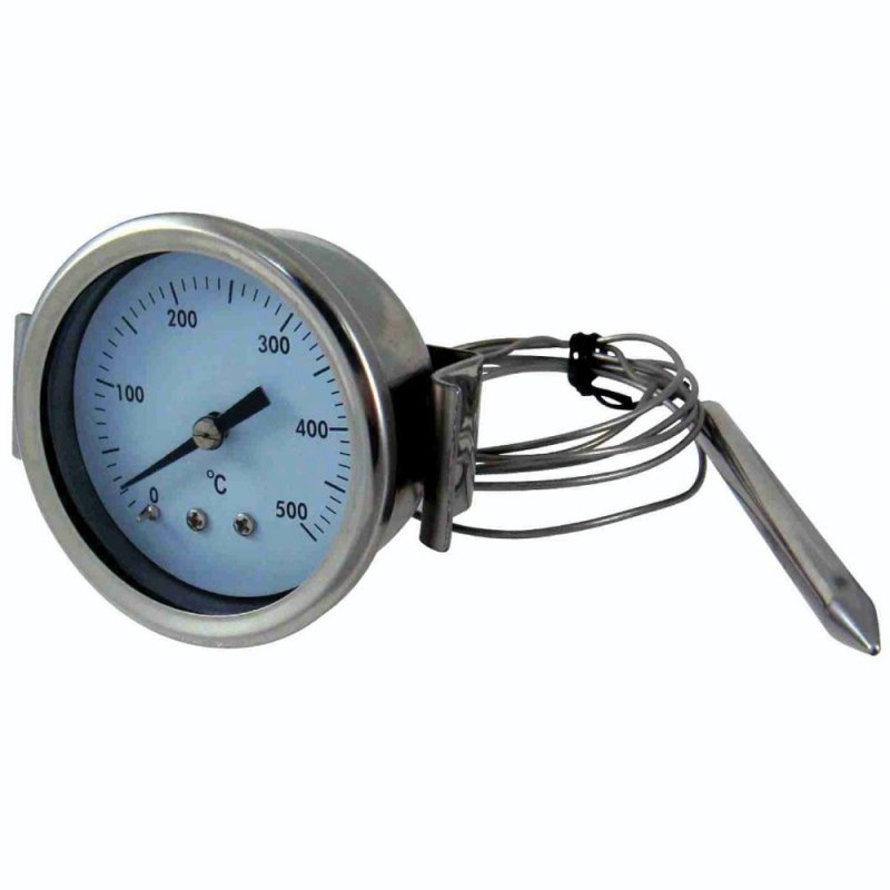 Stainless steel 500 °C thermometer for oven with flexible probe and fixing with flange