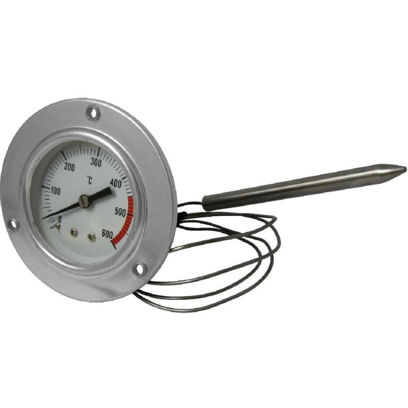 Stainless steel 600 °C thermometer for oven with flexible probe and fixing with screws
